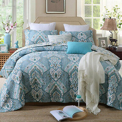 Floral Design King Size 100% Cotton Quilted Bedspreads Bed Linen  Coverlet Set