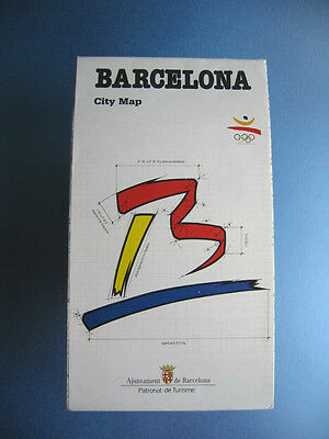 Olympic Games BARCELONA 1992 Official Logo City Olympic Village Map