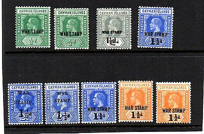 CAYMAN ISLANDS WW1 lot of WAR TAX overprints from old collection mint