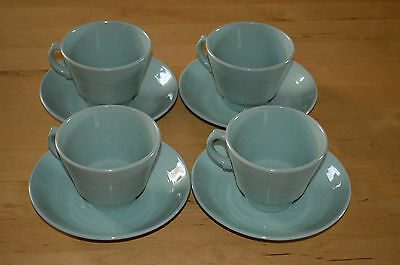 Vintage Woods Ware Beryl Cups and Saucers x 4