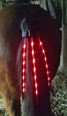 Red Led Horse Tail Wrap Light - Static Or Flashing - Equestrian Warning Light
