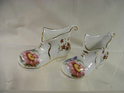 Pair of Matching Fenton Bone China Decorative Boot Ornaments