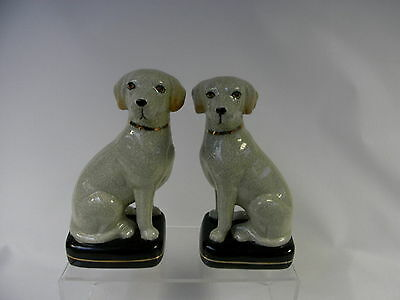 Pair of Matching Vintage Porcelain  Decorative Mantlepiece Dogs