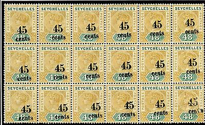 SEYCHELLES-1893 45c on 48c Ochre & Green superb unmounted mint block of 18 Sg 20