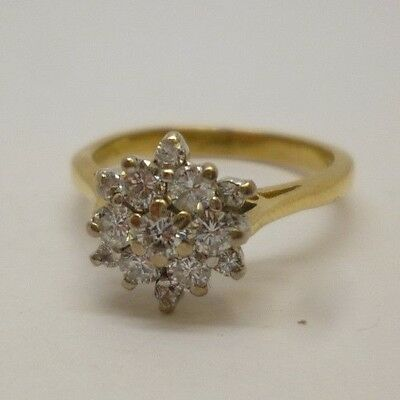 Stunning 18ct Yellow Gold & 0.75ct Diamond Flower Cluster Engagement Ring ~ L1/2