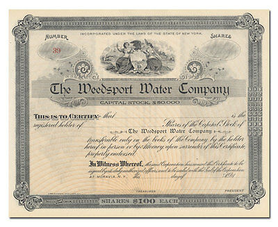 Weedsport Water Company Stock Certificate