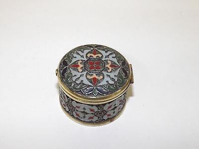 Antique Russian Enamel On Copper Round Box