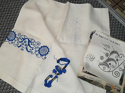 Vintage 1960s part embroidered Table Cloth