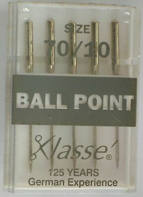 Klasse Sewing Machine Needles, BALL POINT Size 70 / 10, Pack of 5 Needles