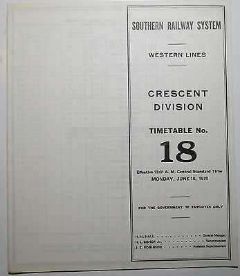 Southern Railway 1970 Employee Timetable  -  Crescent Division