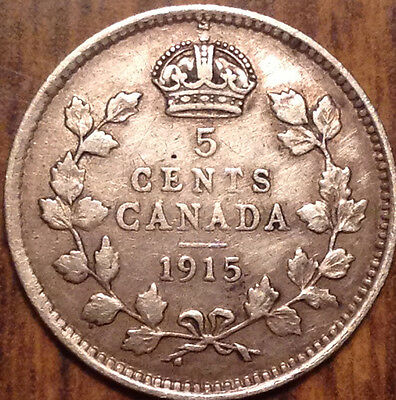 1915 Canada 5 Cents Keydate Coin In Amazing Hg Condition !