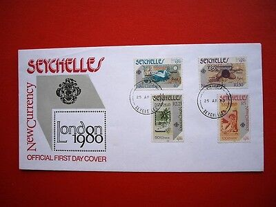 Seychelles 1980 cover; currency set