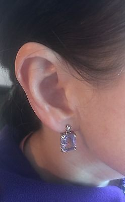 Gorgeous 9 CT white gold amethyst earrings