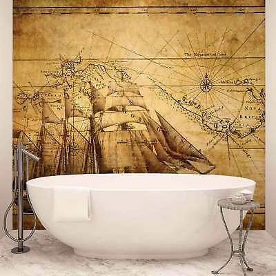 WALL MURAL PHOTO WALLPAPER XXL Vintage Ship Map (022WS)