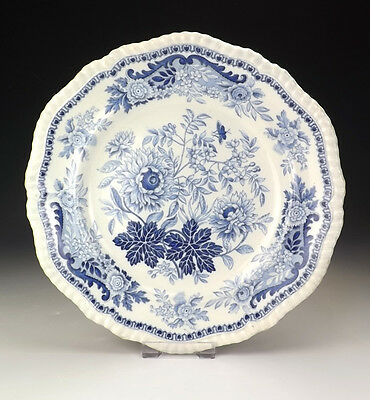 Antique Spode - Flower Decorated Blue & White Transferware Plate - Early!