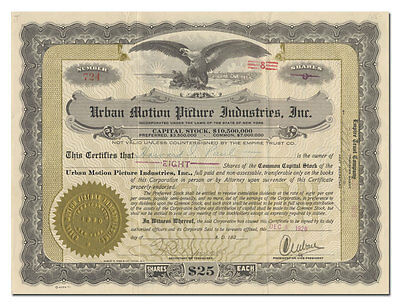 Urban Motion Picture Industries, Inc., Stock Certificate Signed by Charles Urban