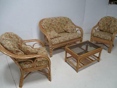 Cottage Cane Conservatory Furniture - 4 piece Suite - Chairs Sofa & Table