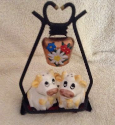Vintage Salt and Pepper Shakers - Collectable & Rare - Cows & Cowbell