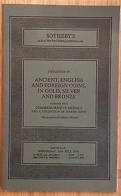 LAC SOTHEBY'S catalogue of ANCIENT ENGLISH AND FOREIGN COINS JULY 1978