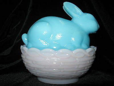 Pink Blue milk glass bunny rabbit on nest basket candy easter eggs crown tuscan
