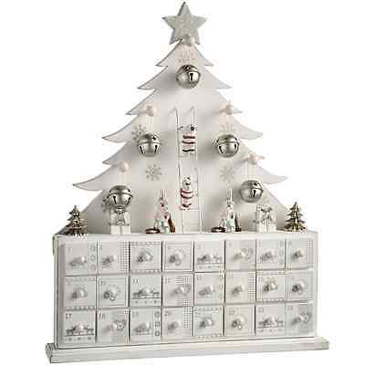 WeRChristmas Wooden Tree Advent Calendar Christmas Decoration, 40 cm - White