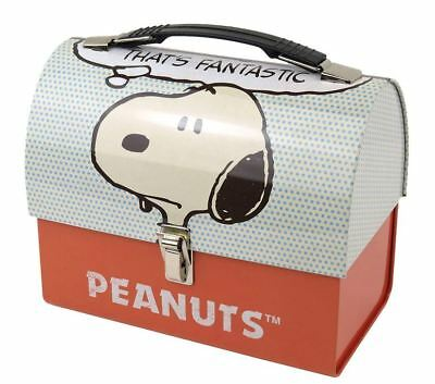 Official Peanuts Snoopy Thats Fantastic Domed Lunch Tin Tote Box New