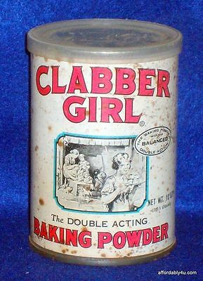 Clabber Girl Baking Powder Tin Can Country Kitchen Vtg Container