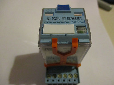 RS 350-383 Latching Relay 24VDC  (Releco C3-R20 24VDC) c/w base and clip