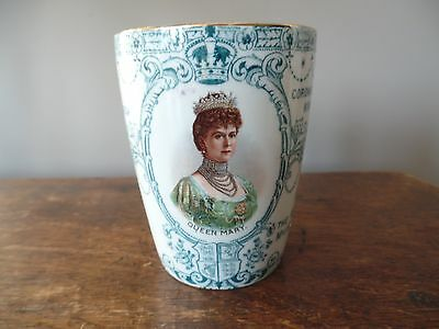 King George V And Queen Mary Coronation Beaker Wisbech 1911 Excellent