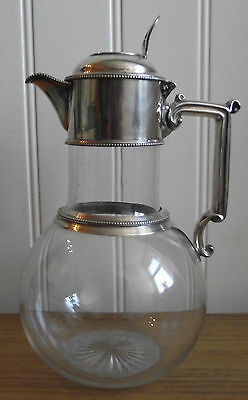 """Stunning Antique 1855 W&g Sissons Solid Silver Collared 9"""" Tall Glass Claret Jug"""