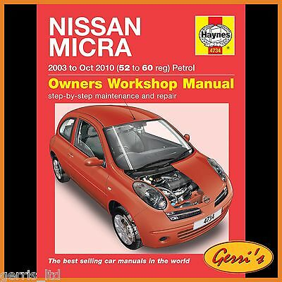 4734 Haynes Nissan Micra Petrol (2003 - Oct 2010) 52 to 60 Service Manual