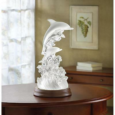 Dolphins On Waves Of Light Sculpture Changing  Colors Tabletop Decor~32270