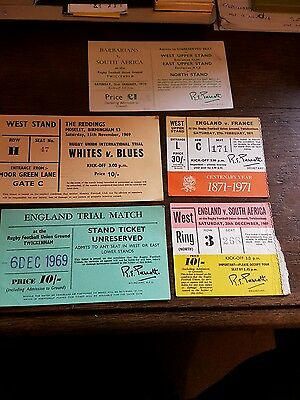 1960s/70s rugby union ticket stubs england etc