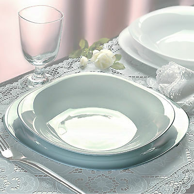 Bormioli Rocco Parma 18 Pcs Dinner Service Set Opal Glass Tableware Dining Plate