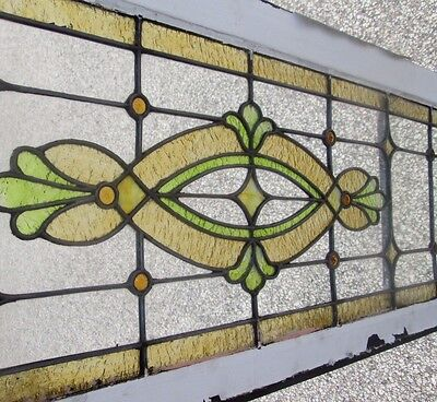 """Antique Stained Glass 56"""" Long Transom Window  W/ 10 Jewels Arts & Crafts # 639"""