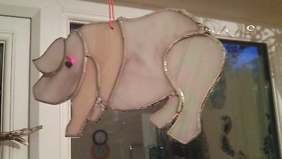 Pink pig stained glass suncatcher