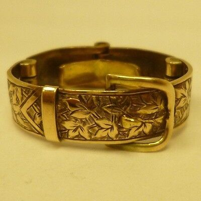 RARE Vintage Antique Collectable Collapsible 9ct Yellow Gold Ornate Buckle Ring