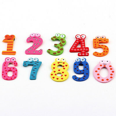 Kids Learning Teaching Magnetic Wooden Letters Numbers Fridge Magnet 0-9