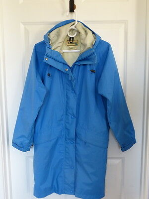 LL Bean Women's Hooded 3/4 Length Jacket Blue Gore-Tex Small Reversible Zipper