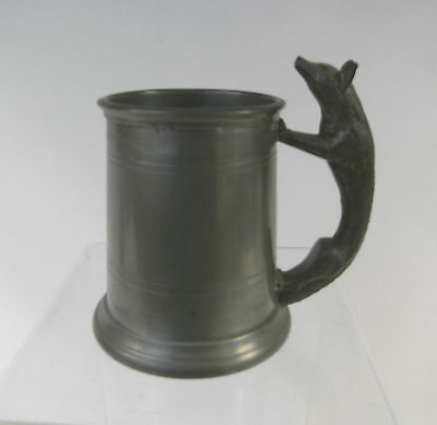 Vintage Sheffield Pewter Small Tankard with Fox Handle