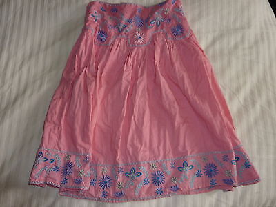 Cq 100% Cotton Pink Embroidered Lined Skirt Age 6 - 7