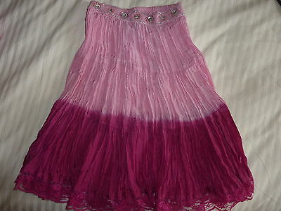 Monsoon 100% Silk Pink Ombre Crinkle Skirt Age 4 - 6 Sequins Beads Sparkly New