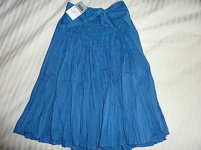 Next Blue Crinkle 100% Cotton Skirt Age 3 Sequins Sparkly Elasticated Waist Bnwt