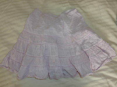 Next Baby Pink Lace Trimmed Embroidered Cotton Summer Skirt Age 2 - 4