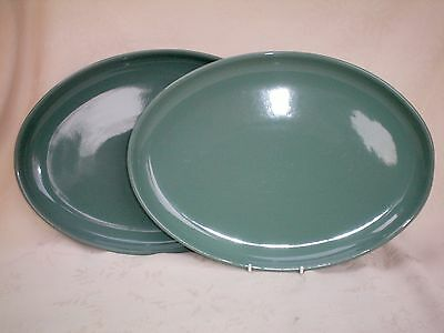 Denby Manor Green Set of 2 X Oval Steak Plate Platters Excellent Cond (Ref A)