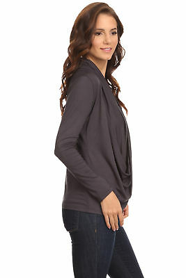 Women's Gunmetal Long Sleeve Criss Cross Cardigan Small to 3XL Made in USA