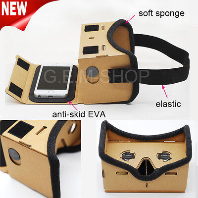 Google Cardboard 3D VR Virtual Reality Glasses Mobile Phone 3D Viewer Glasses UK