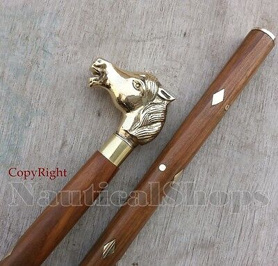 Solid Brass Horse Head Vintage Style Walking Cane Rosewood 3 Fold Walking Stick