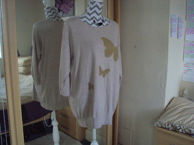 WALLIS Ladies Lovely Sparkly Butterfly Print Knitted Jumper**Size 14-16 M