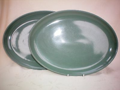 Denby Manor Green Set of 2 X Oval Steak Plate Platters Good Used Cond (Ref B)